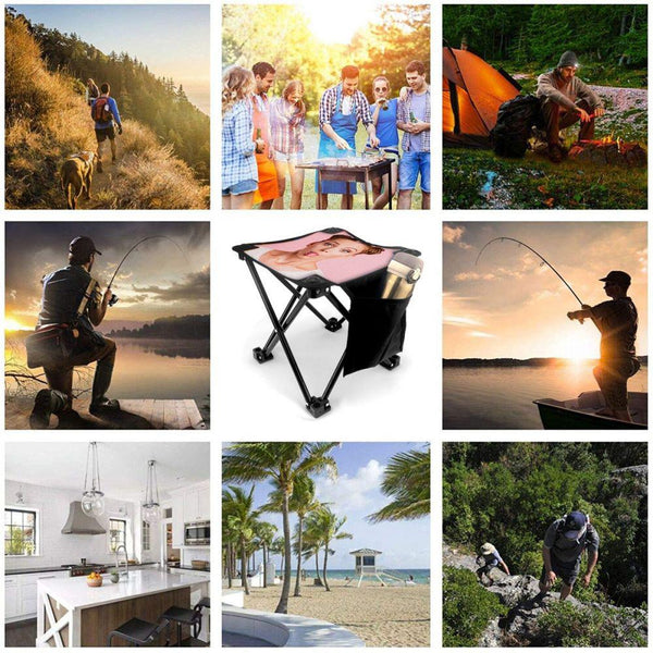 Custom Person Photo Folding Camping Stool Portable Outdoor Mini Chair