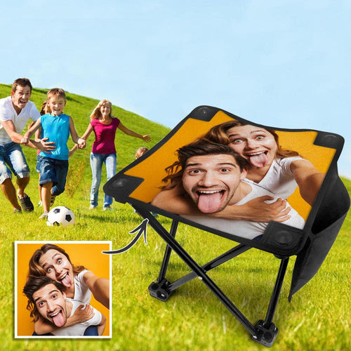Custom Couple Photo Folding Camping Stool Portable Outdoor Mini Chair
