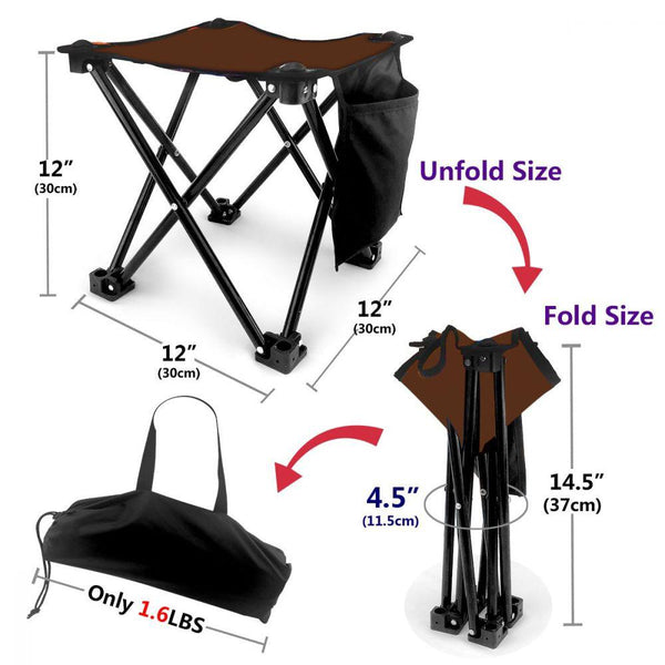 Brown Folding Camping Stool Portable Outdoor Mini Chair