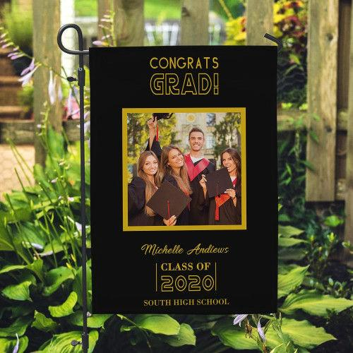 Custom Congrats Grad Photo Garden Flag