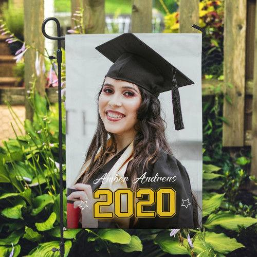 Personalized Outdoor Graduation Photo With Your Name Garden Flag (12.5in X 18in)