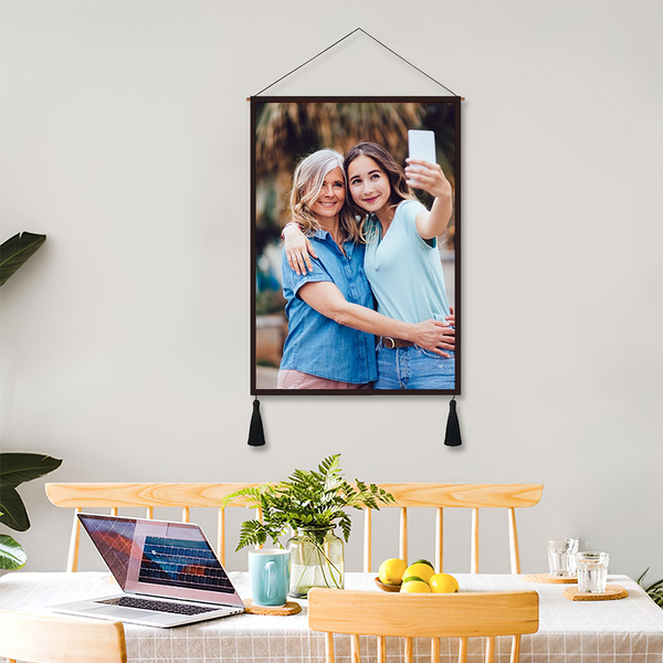 Mother's Day Gift Custom Photo Tapestry - Wall Decor Hanging Fabric Painting Hanger Frame Poster