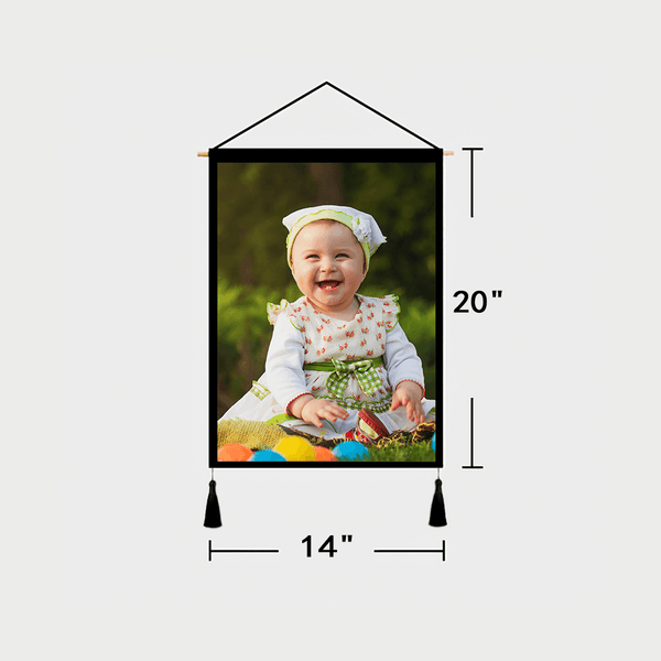 Custom Baby Photo Tapestry - Wall Decor Hanging Fabric Painting Hanger Frame Poster