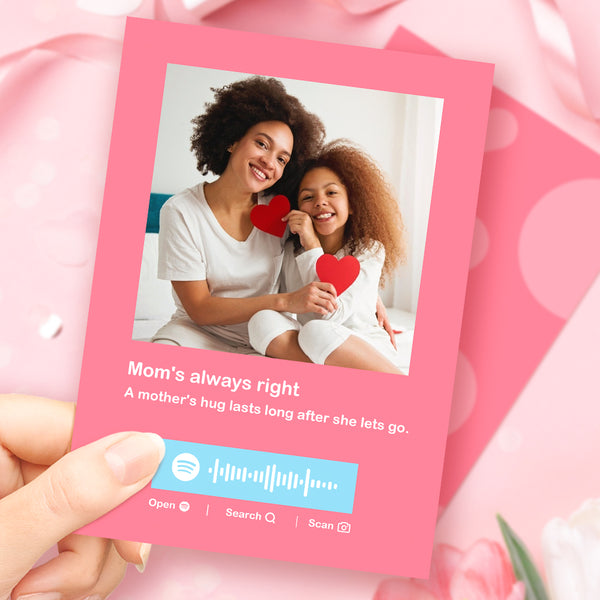Mother's Day Gift Personalized Photo Engraved Text Scannable Spotify Music Code-Spotify Code Card