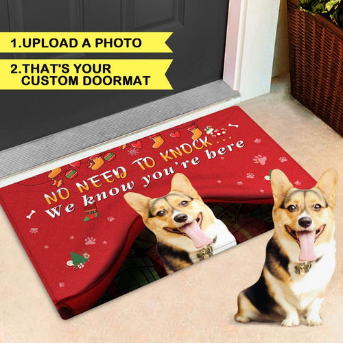 Custom Pet Christmas Doormat No Need to Knock with Your Puppy's Photo