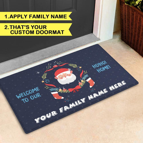 Custom Christmas Family Doormat Personalized Door Mat with Family Name