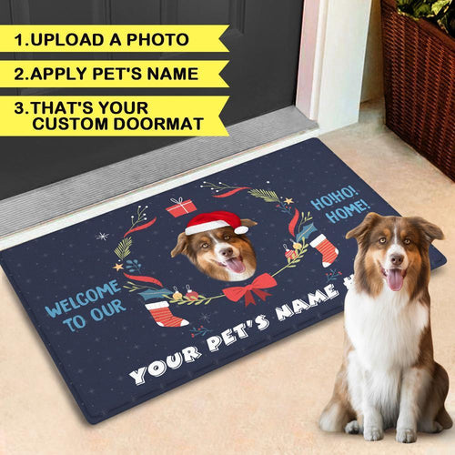 Christmas Personalized with Your Pet's Photo And Name Doormat