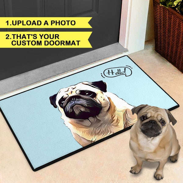 Custom Cartoon Portrait Doormat With Your Pet's Photo Indoor & Outdoor Door Mat