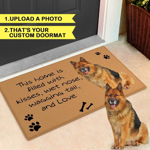 Custom Dog Photo Door Mat Pet Doormat-This home is filled with kisses