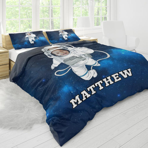 Custom Bedding Duvet Cover And Pillowcase Personalized Photo Text Polyester Fibre Duvet Cover And Pillowcase-The Astronaut Duvet Cover And Pillowcase