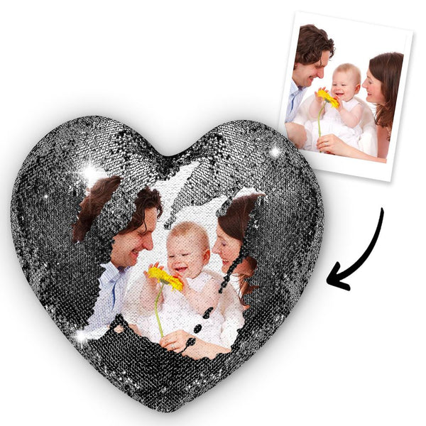 Custom Photo Magic Heart Sequin Cushion Pillow