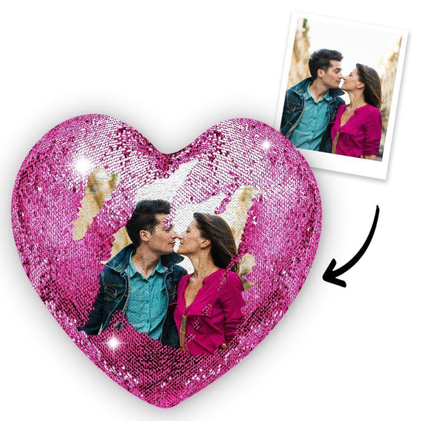 Custom Couple Photo Heart Magic Sequins Pillow Multicolor Sequin Cushion