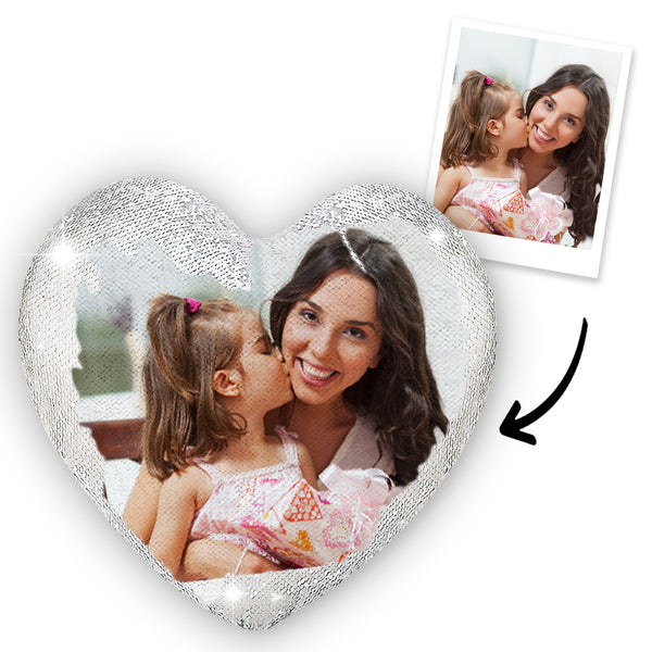 Gifts for Mom Custom Photo Magic Heart Sequin Cushion Pillow