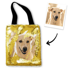 Custom Pet Photo Sequin Tote Bag