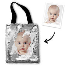 Custom Baby Photo Sequin Tote Bag