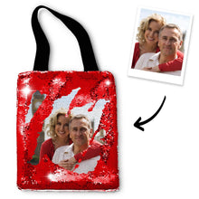 Custom Lover Photo Sequin Tote Bag