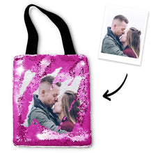 Personalized Sequin Tote Bag with Photo of Your Lover