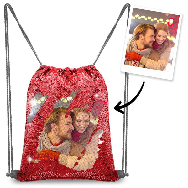 Personalized Sequin Backpack with Photo of Your Lover