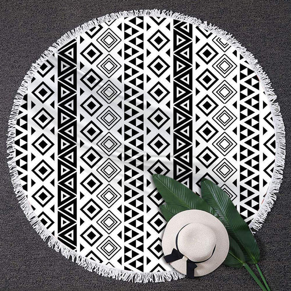Round Beach Towel Beach Blanket Gift Tassel Beach Mat for Party