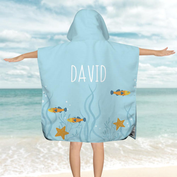 Hooded Bath Towel Beach TowelCustom Bath Towels with Name Light Blue Children's Bath Towel
