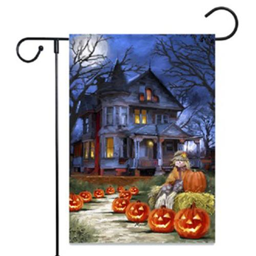 Halloween Yard Decoration Welcome Garden Flag Outdoor Banner Decorative Seasonal Small Burlap Garden Flag for Home