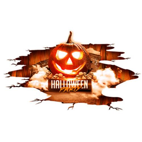 Halloween Sticker Red Flame Pumpkin Lamp Sticker Environmental Protection Wall Ground Sticker