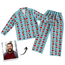 Custom Photo Long Sleeve Pajamas Sleepwear Nightwear, Lounge Wear - Kiss