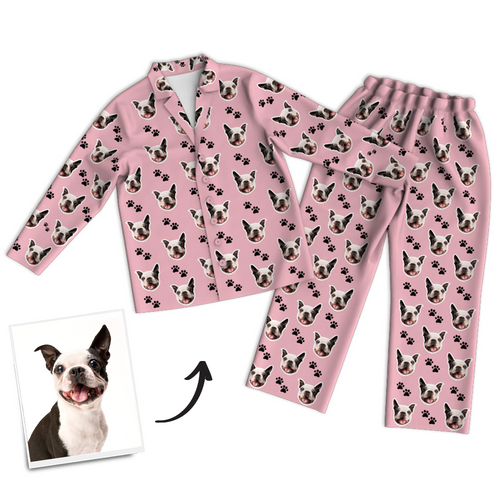 Custom Dog Photo Long Sleeve Pajamas, Sleepwear, Nightwear, Lounge Wear