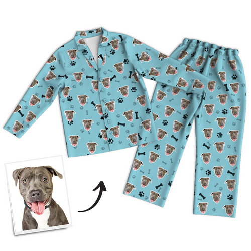 Custom Dog Photo Long Sleeve Pajamas, Sleepwear, Nightwear, Lounge Wear - Bone