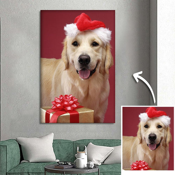 Custom Pet Dog Photo Wall Decor Painting Canvas Festival Gift