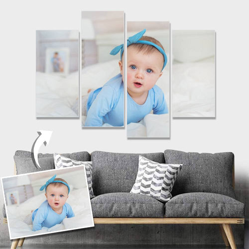Custom Baby Photo Wall Decor Painting Canvas 4 pieces