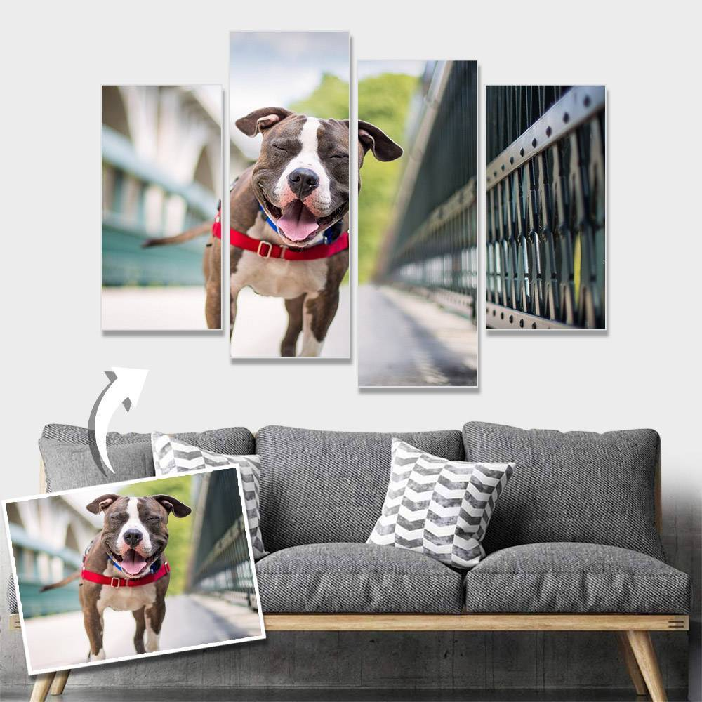 Custom Pet Photo Wall Decor Painting Canvas 4 pieces