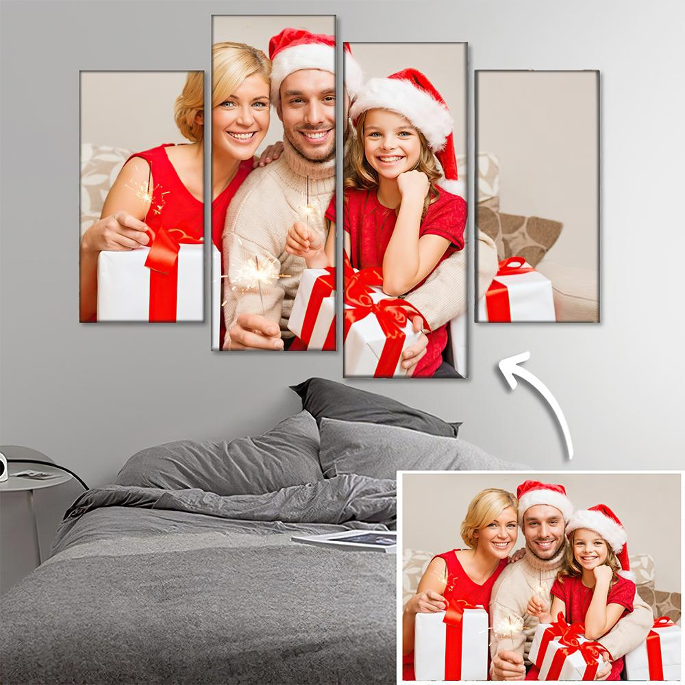 Custom Photo Wall Decor Painting Canvas 4 pieces Christmas Gift For Family