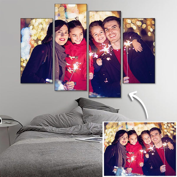 Custom Family Photo Wall Decor Painting Canvas 4 pieces Christmas Gift