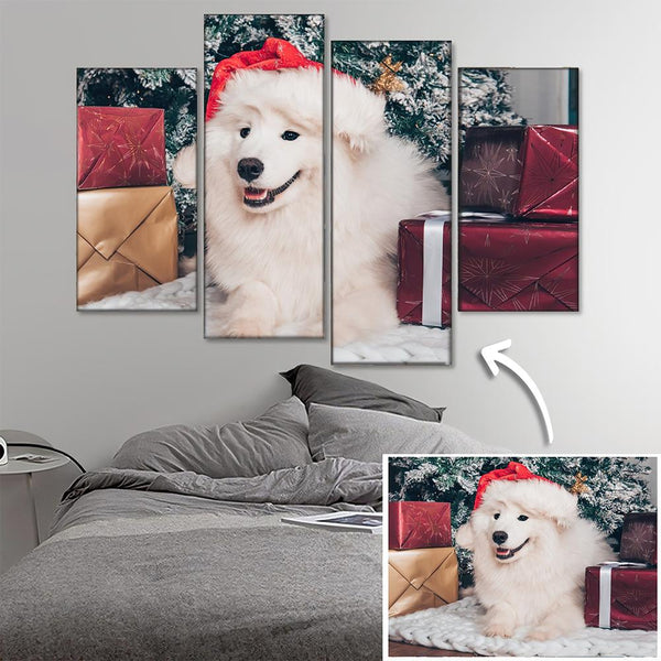 Custom Pet Photo Wall Decor Painting Canvas 4 pieces Christmas Gift