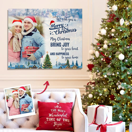 Personalized Couple Photo Canvas Prints With Frame Custom Painting Canvas Photo Home Wall Decor Holiday Gift