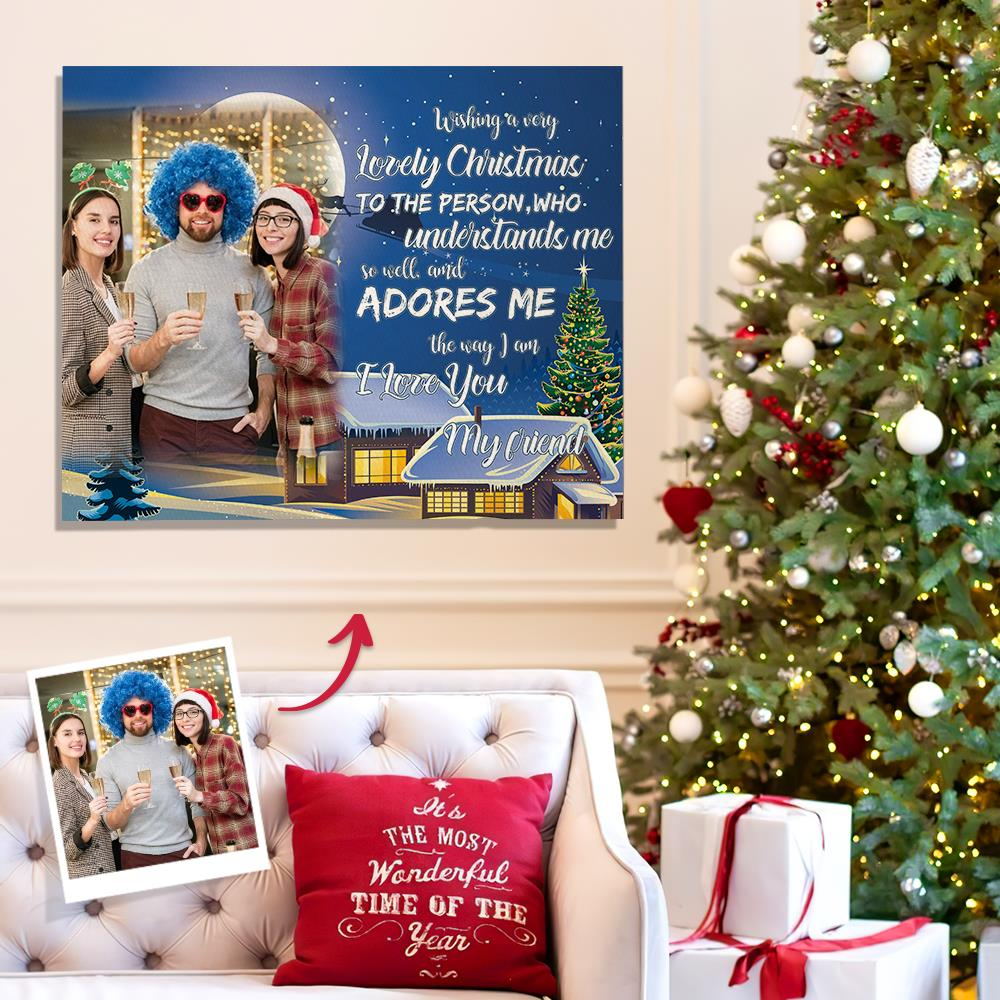 Personalized Friend Photo Canvas Prints With Frame Custom Painting Canvas Photo Home Wall Decor Christmas Gift
