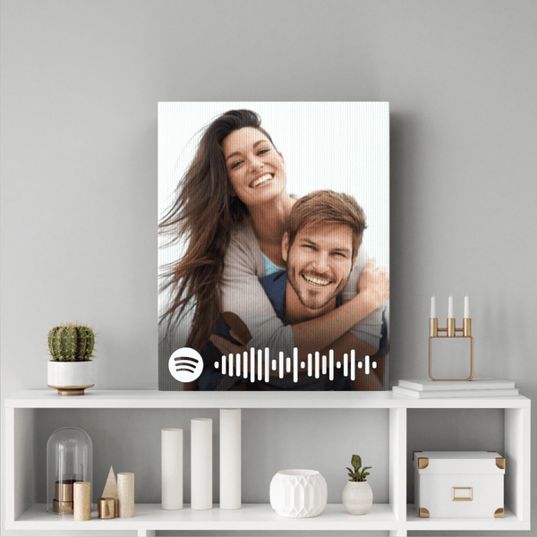 Anniversary Gift Spotify Code Personalized Photo Canvas Print Wall Art Decoration
