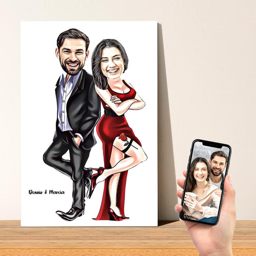 Personalized Portrait Caricature Couple Photo Painting Canvas Custom Text Wall Art Canvas Print Valentine's Day Gift for Her
