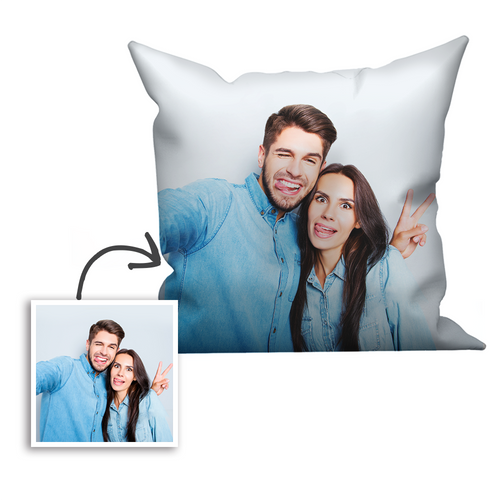 Custom Couple Photo Throw Pillow