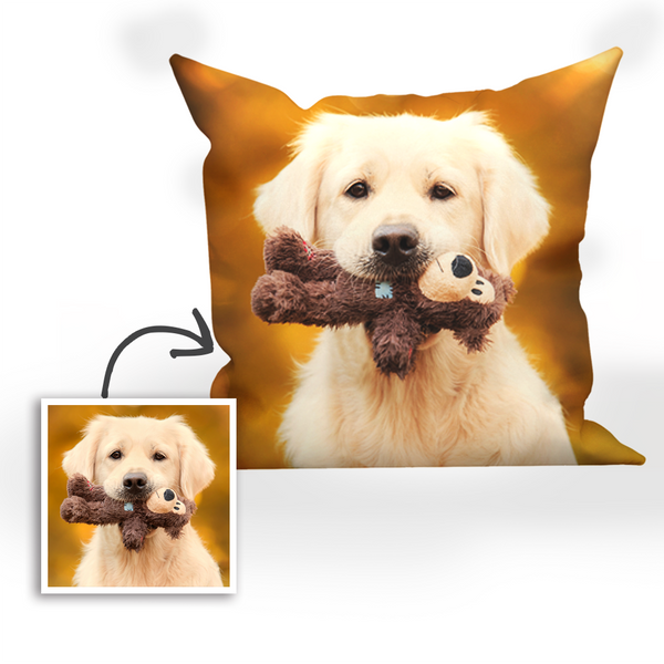 Custom Dog Photo Throw Pillow