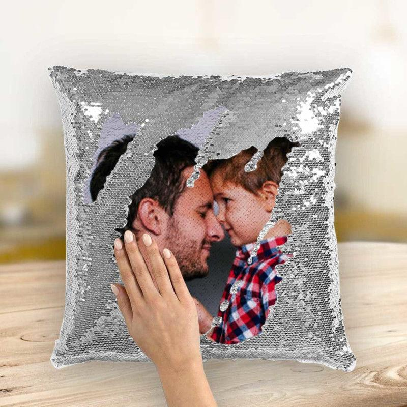 Custom Photo Magic Sequins Pillow Silver Color Sequin Cushion 15.75