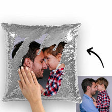 "Custom Photo Magic Sequins Pillow Silver Color Sequin Cushion 15.75""*15.75"""