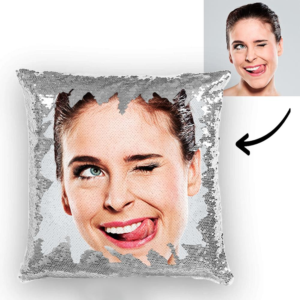 Perfect Women's Day Gifts - Custom Photo Magic Sequins Pillow Multicolor Sequin Cushion 15.75