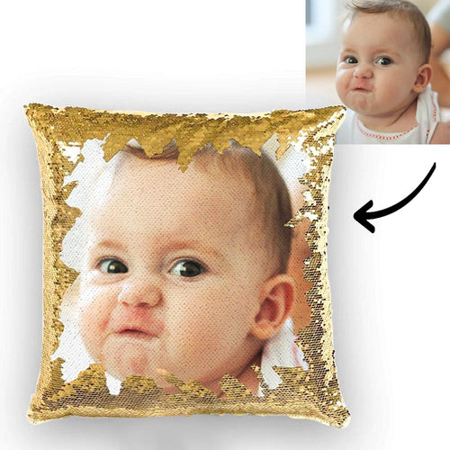 Personlised Cute Baby Photo Magic Sequins Pillow Multicolor Sequin Cushion 15.75