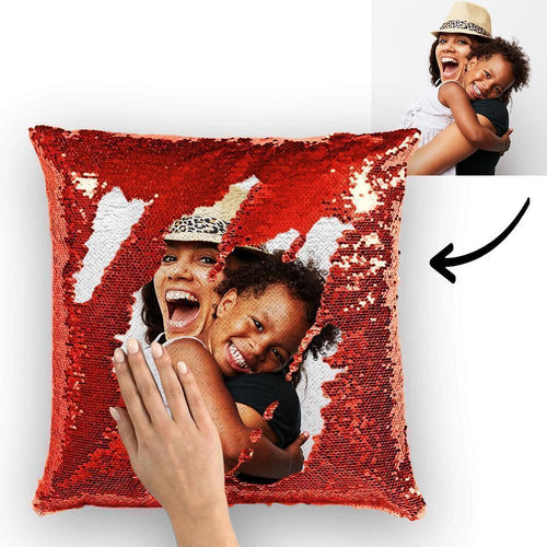 Custom Photo Reversible Magic Sequin Cushion Pillow 15.75