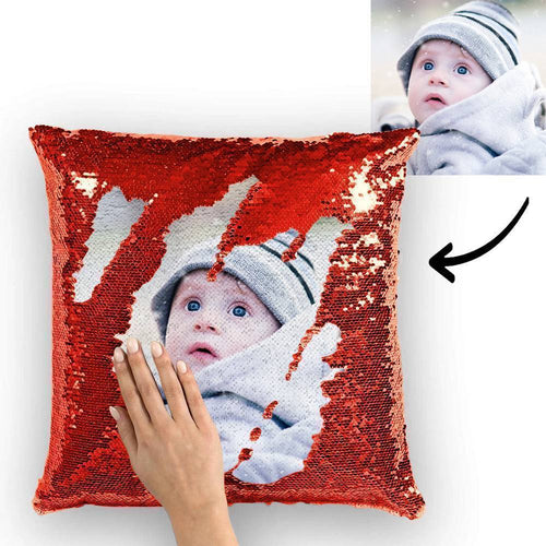Custom Cute Baby Photo Magic Sequins Pillow Multicolor Sequin Cushion 15.75