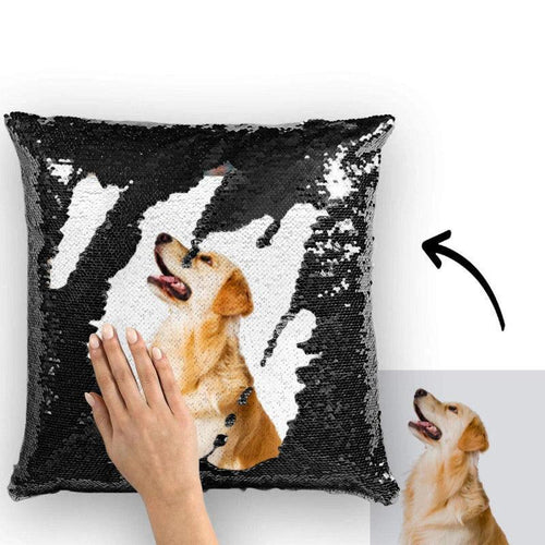 Custom Photo Magic Sequins Pillow Black Color Sequin Cushion Unique Gifts 15.75