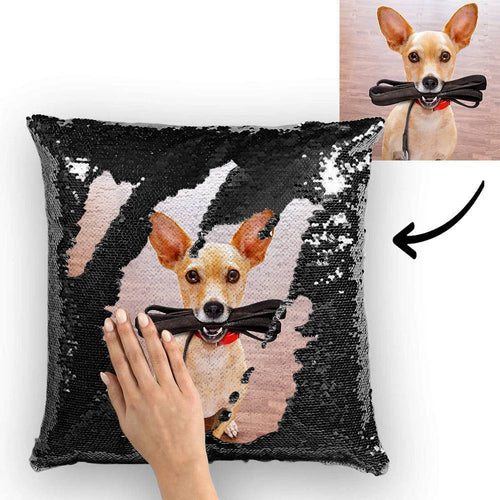 Custom Pet Photo Magic Sequins Pillow Multicolor Sequin Cushion 15.75