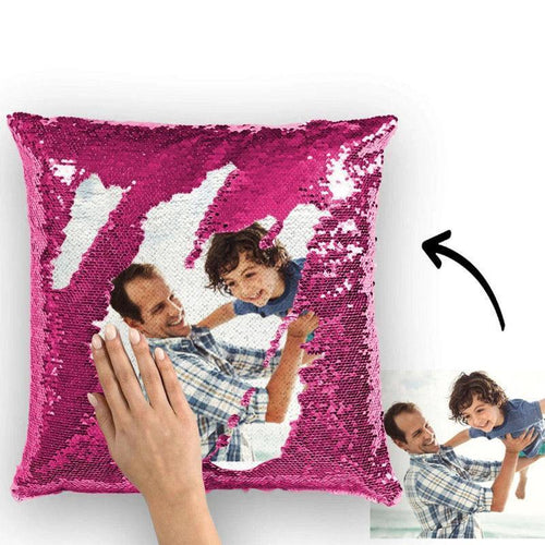 Custom Photo Magic Sequins Pillow Pink Color Sequin Cushion Home Decor 15.75